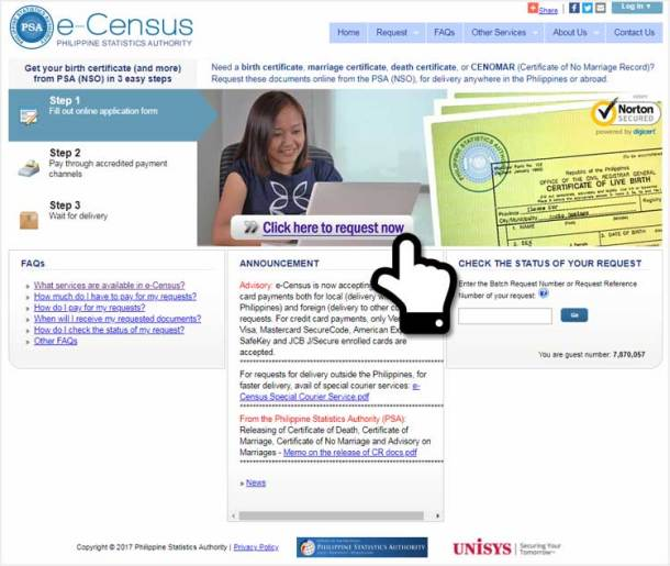 Step 1. Access the E-Census Website