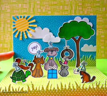 Lawn Fawn Critters in the Burbs Birthday Card - Pop up Stage card Critter Birthday