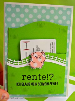 My Favorite Things MFT - The Whole Herd Popup stage card - happy retirement card Rente Schwein front gift card holder closed