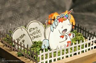 Useless Trinkets Cookie Jar the Zombiecorn - undead unicorn Halloween centerpiece Freebie by Jessa Feig