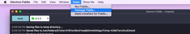 Screenshot: Fiddle's Tasks Menu