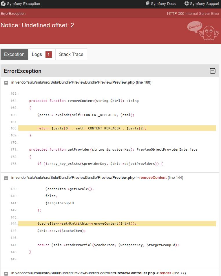 Undefined Offset: 1 : undefined, offset:, Notice:, Undefined, Offset:, Issue, #4877, Sulu/sulu, GitHub
