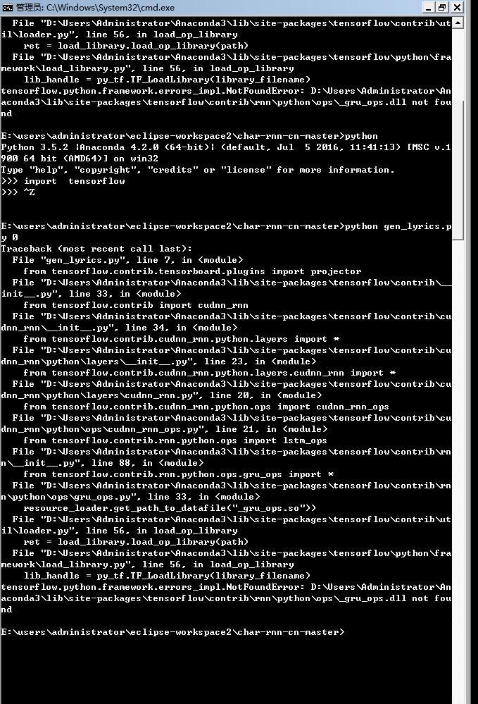 大哥.這應該咋整.我在win7的tensorflow 上弄的 · Issue #12 · leido/char-rnn-cn · GitHub