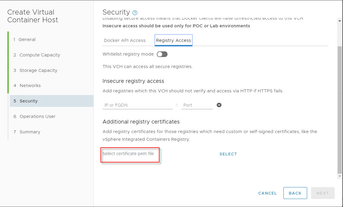 Registry Access tab mentions *.pem but VIC Registry cert