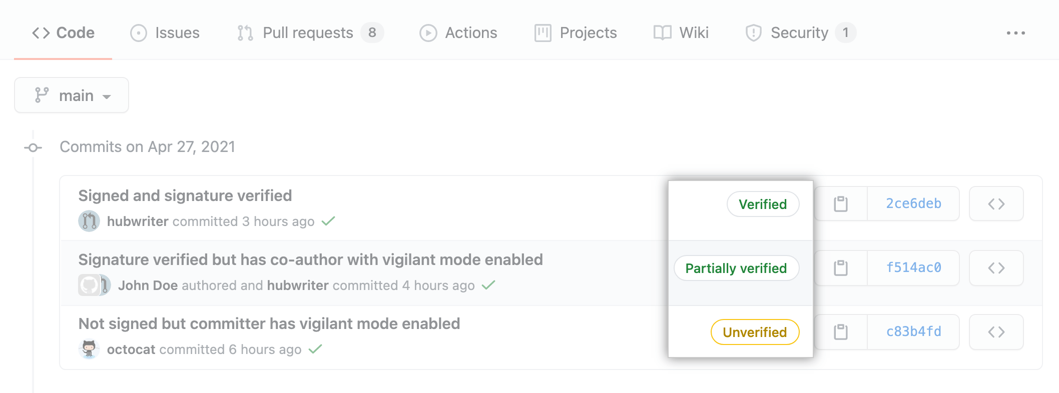 Commits and tags are marked with one of three verification statuses