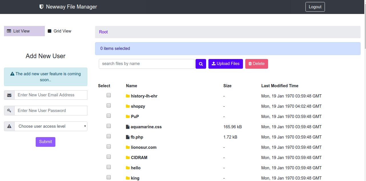 NewWay PHP File Manager: Manage files and directories with AJAX interface - PHP Classes