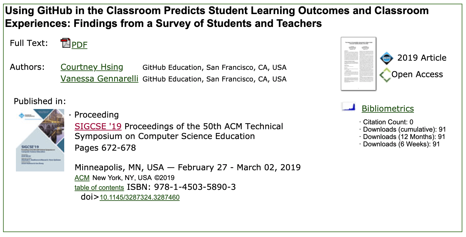 Image of our paper available from ACM on how using GitHub in the classroom predicts positive learning outcomes.
