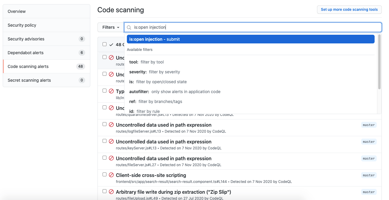 Free text search on code scanning alerts