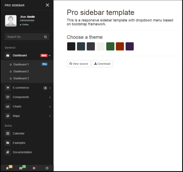 Bootstrap Sidebar Navigation Template - Year of Clean Water