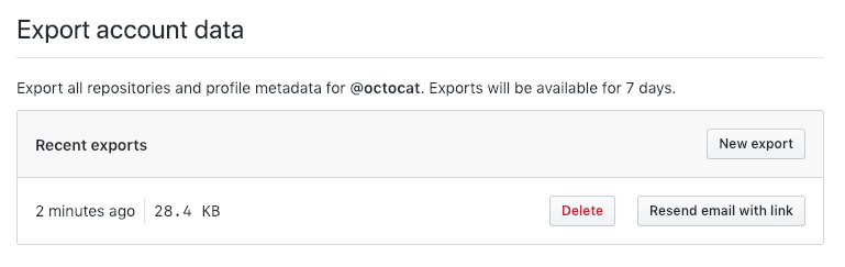 screenshot of requeseting an archive of your GitHub data