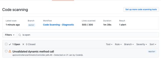 Code scanning CodeQL security tab