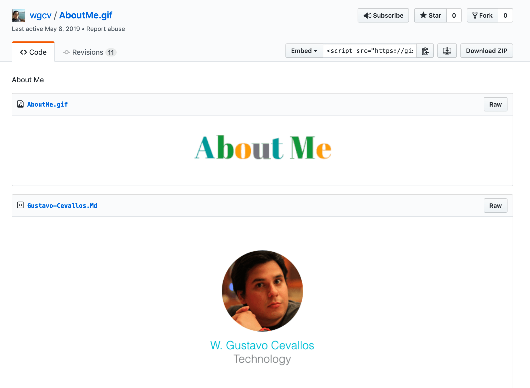 Gustavo's 'About Me' gist shows a gif as the first file.
