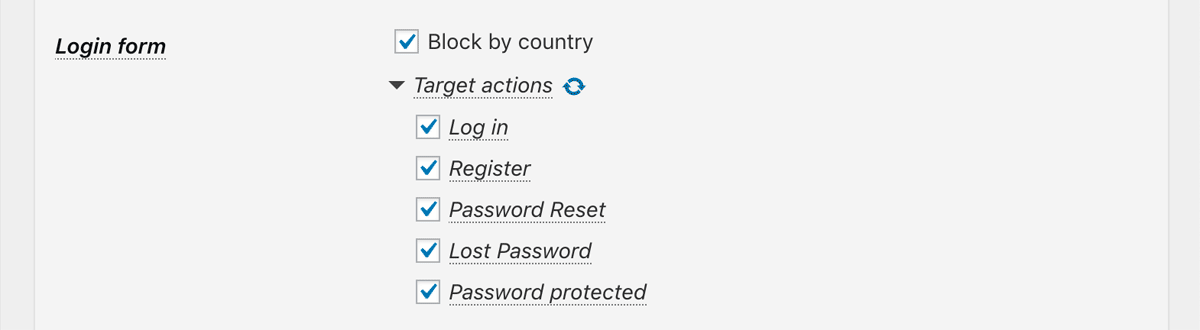Block by country at Login from