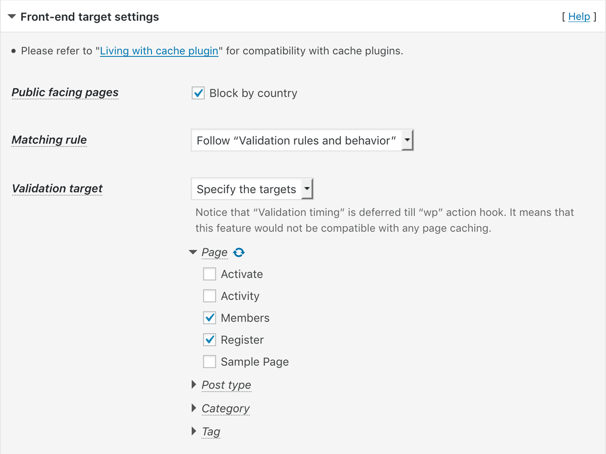 Front-end target settings