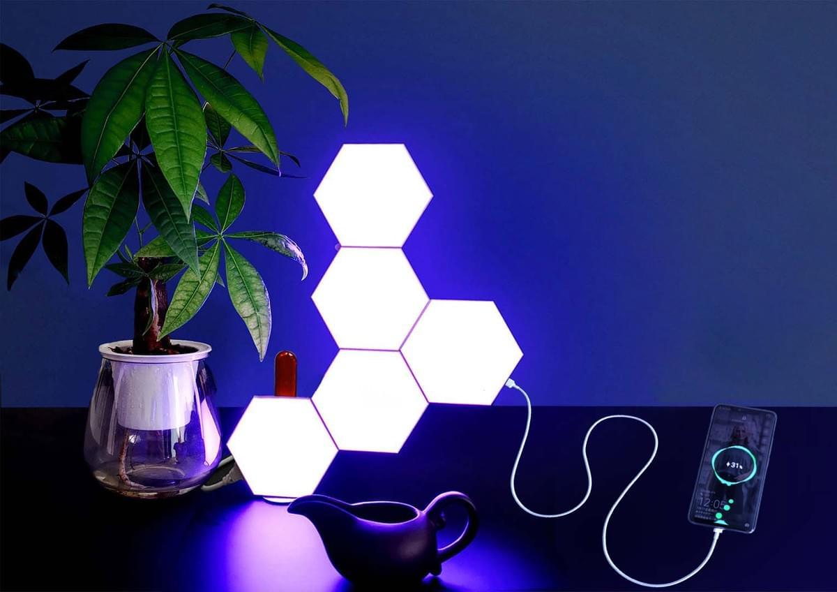 hexagon lights and triangle lights