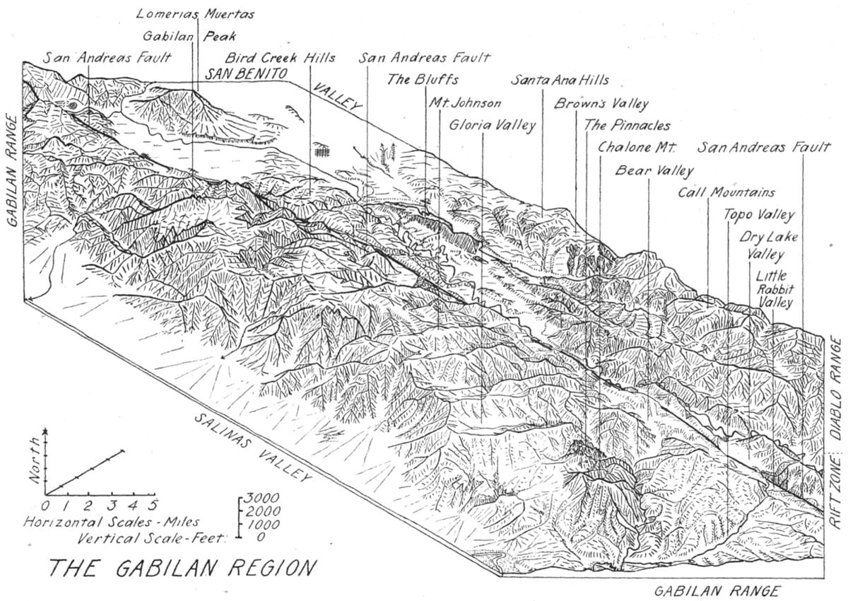 hight resolution of  a fine 3d view of the gabilan range se of san francisco as it was sketched by robin willis in 1925 the san andreas fault bounds that range to the ne