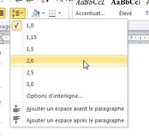 Définition de l'espacement entre les lignes