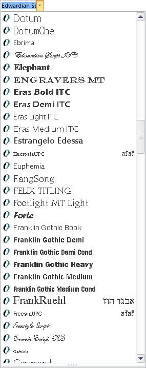 Choix d'une police de caractères