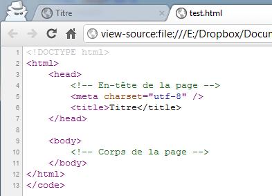 affichage du code source
