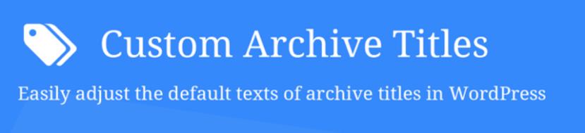 플러그인 Custom Archive Titles