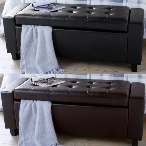 verona faux leather ottoman storage box available in 3 colours
