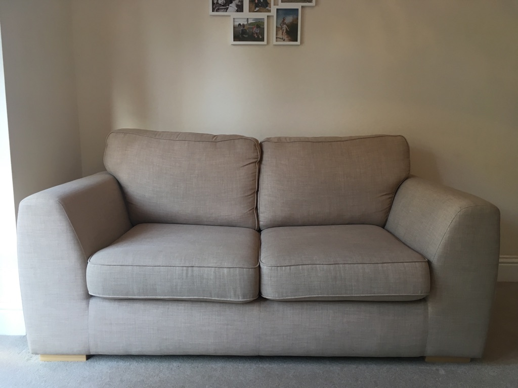 oatmeal sofa design of wood set dfs bed in excellent condition village