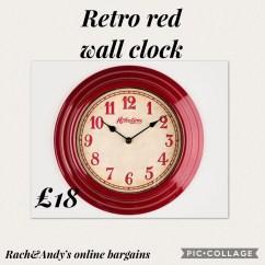 Retro Kitchen Wall Clock Pantry Organization Red Village