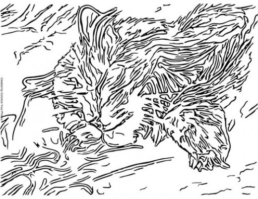 Free Cat Art Coloring Pages