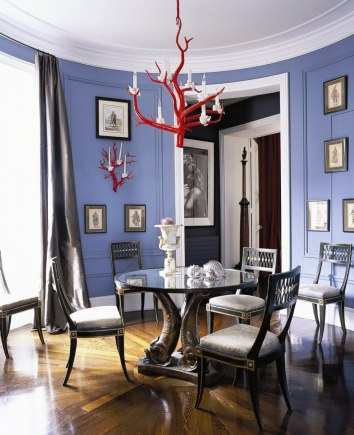 Color Forecast Pantone Spring 2014 Color Report Dining Room with Violet Tulip Walls Red Chandelier Hardwood Floors Gallery Wall