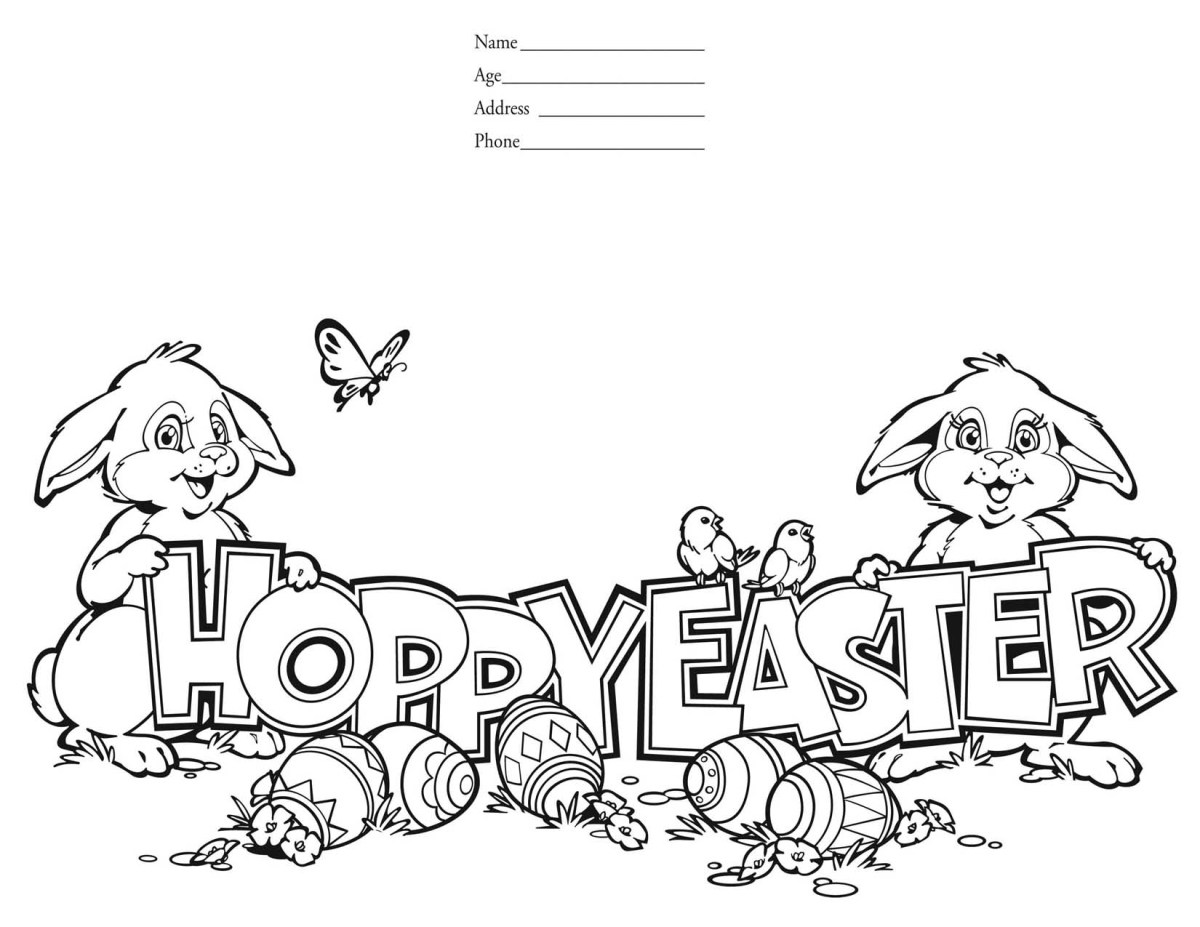 'Hoppy' Easter colouring page for children