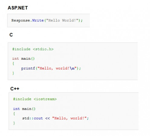 """Hello, world!"" in ASP.NET, C, C++"