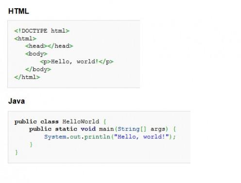 """""""Hello, world!"""" in HTML, Java"""