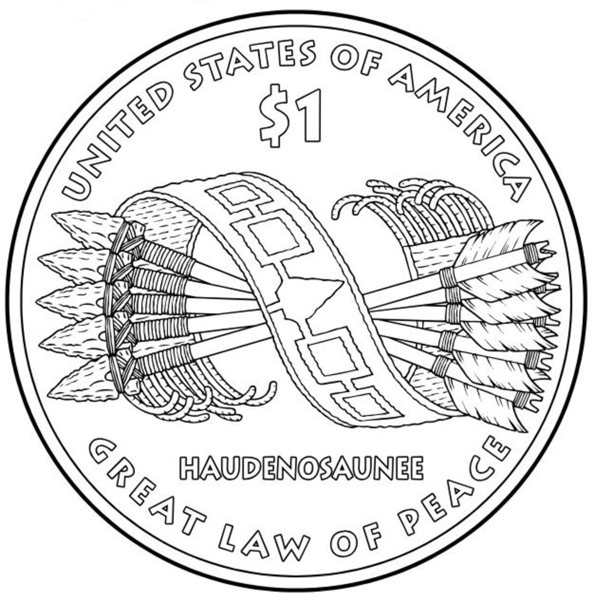 Free Native American Coloring Pages of US Mint One Dollar
