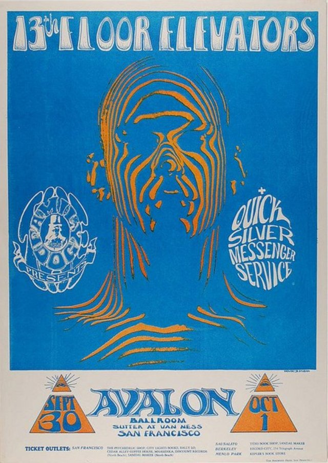 13th Floor Elevators, Quicksilver Messenger Service at the Avalon Ballroom Family Dog Poster #28 by Alton Kelley and Stanley Mouse 1966