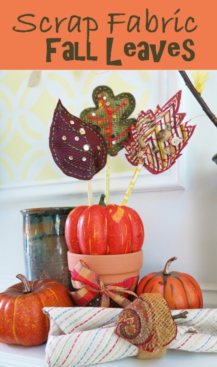 DIY Craft Tutorial Scrap Fabric Fall Autumn Leaves Table