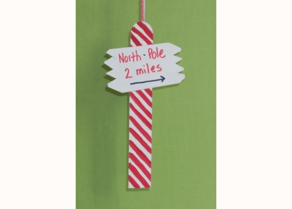 North Pole Popsicle Stick Sign