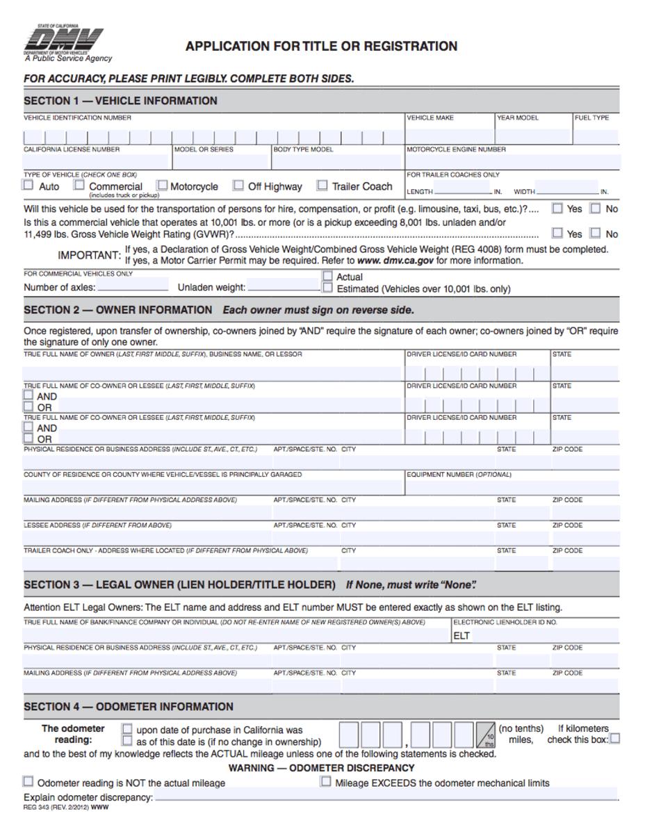 Ca Dmv Registration Lien Holder It