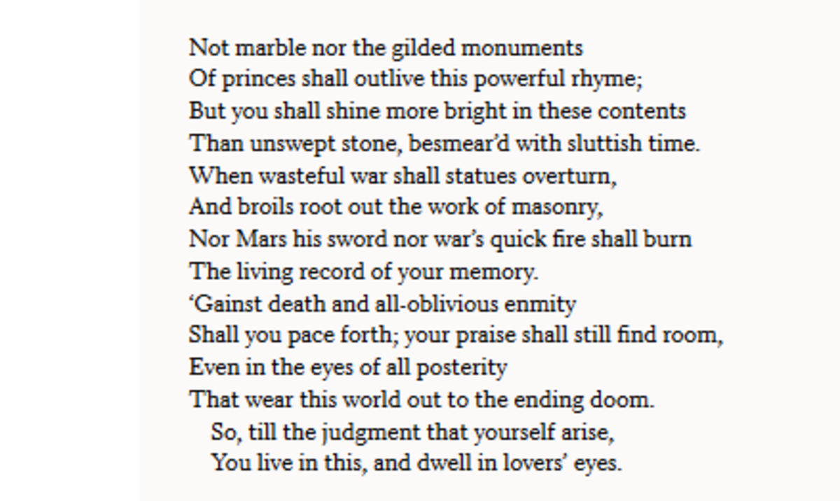 Analysis Of Sonnet 55 By William Shakespeare Owlcation