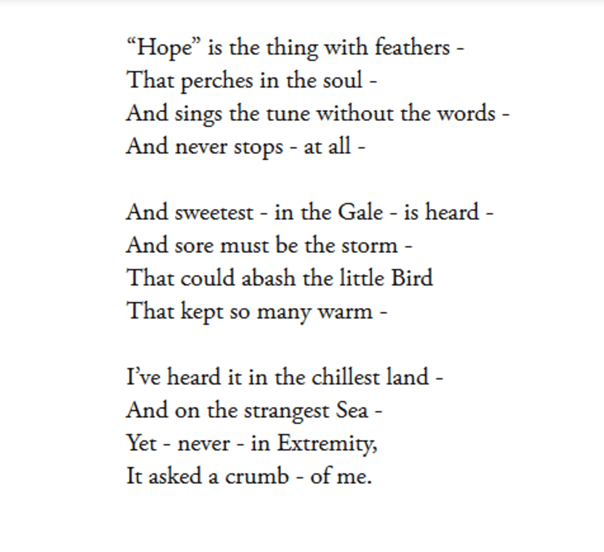Ysis Of Poem Hope Is The Thing With Feathers By