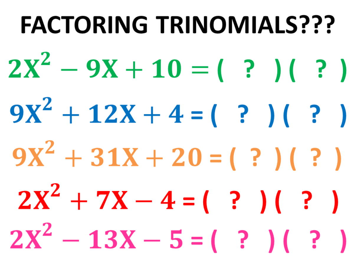 Algebra Factoring Trinomials In The Form Of X2 Bx C Today We