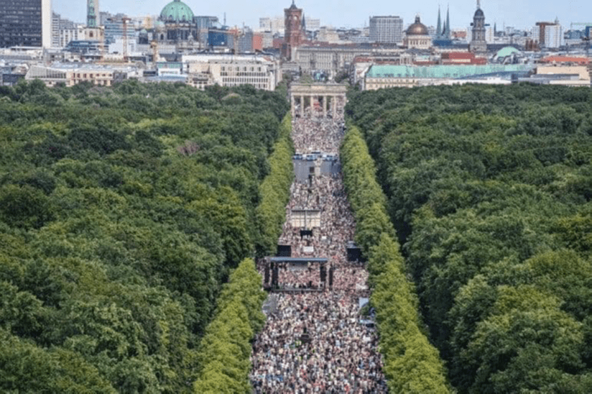 August Protest in Berlin Against Lockdown, and Against Mandatory COVID Vaccination