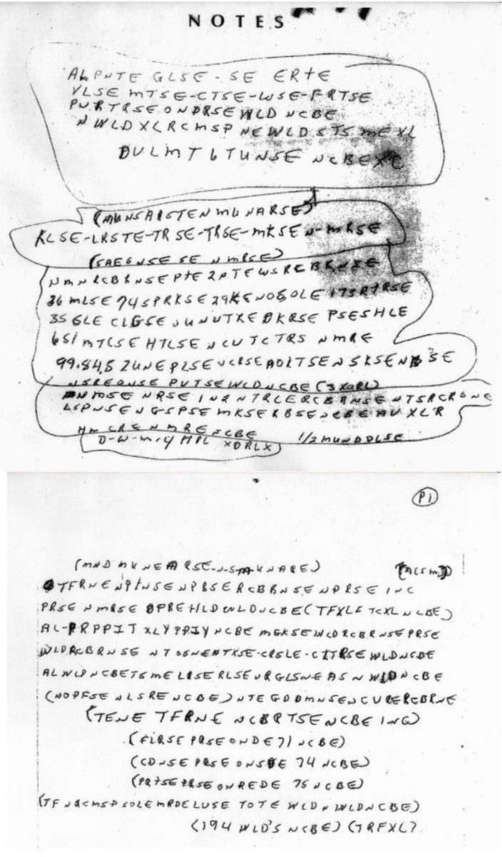 Cryptographic clues from an unsolved mystery. FBI asks for
