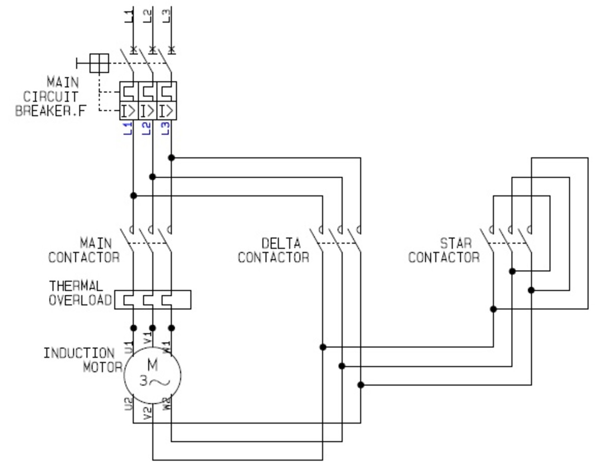 contactor and thermal overload relay wiring diagram vauxhall vectra c headlight using star delta motor control with circuit diagrams turbofuture power source cad drawing by ianjonas