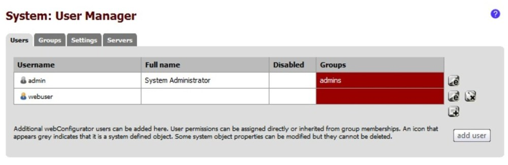 PfSense kullanıcı yöneticisi, tutsak portal için yerel hesaplar oluşturmak için kullanılabilir.