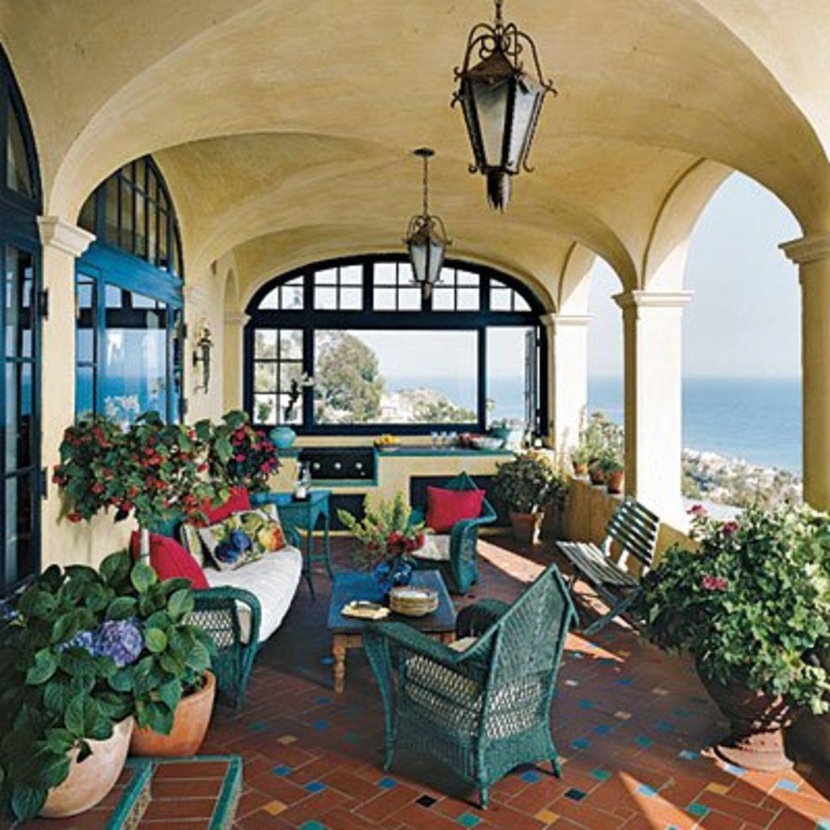 Mediterranean Patios Pergolas Stucco Terraces Water
