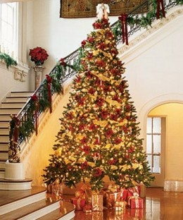 Christmas Tree Decorations Gold And Red Happy Holidays