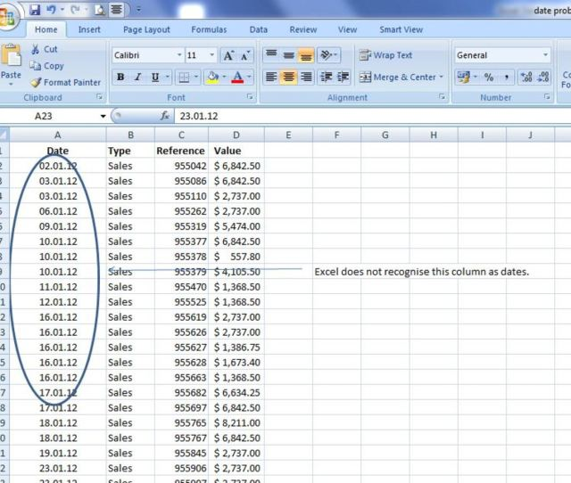 Column A Is In A Date Format That Excel Does Not Recognise