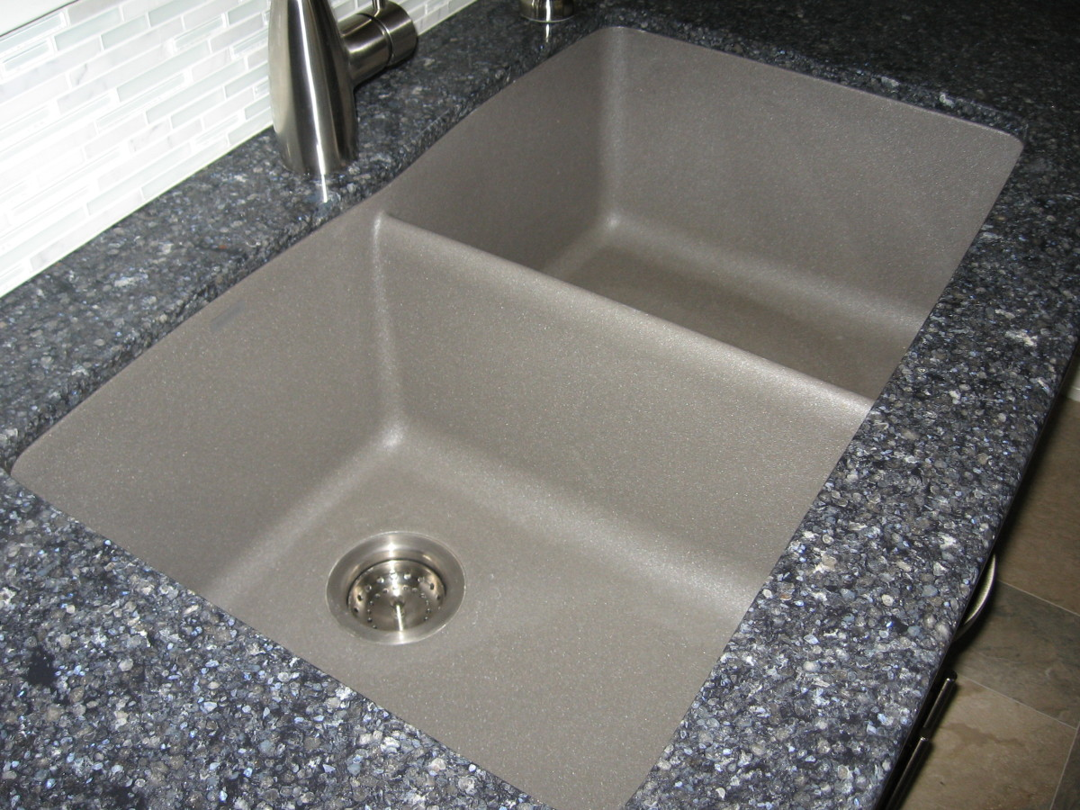 gray kitchen sink island stool long term review of the silgranit ii granite composite my is metallic which provides an accent to darker grayish