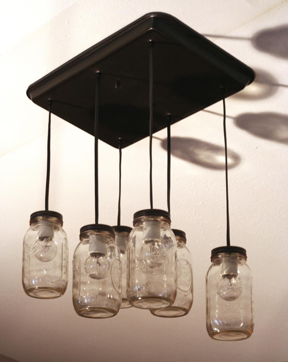 kitchen fluorescent light home depot range diy mason jar pendant lights | dengarden