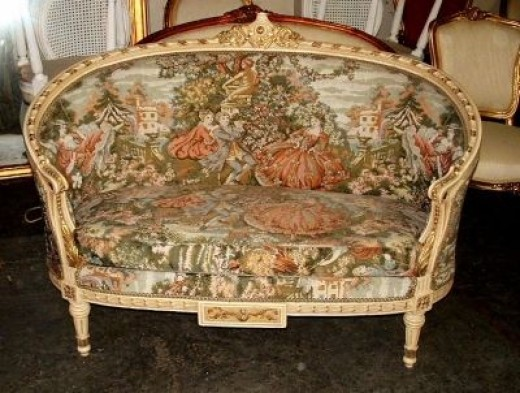 Chic French Country Tapestry Louis XVI Settee Sofa
